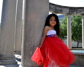 Red white and blue tutu dress. 4th of July dress. Satin lined, sewn.