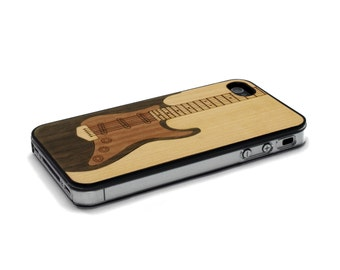 iPhone 4 Case Wood Electric Guitar Case Music Wood iPhone 4s Case Wood iPhone 4 Case, iPhone 4 Wood Case, iPhone 4s Wood Case
