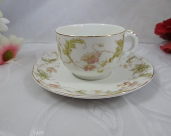 1880s Vintage John Maddock Vitreous English Bone China Teacup Demitasse Cappuccino English Teacup and Saucer English Teacup English Tea Cup