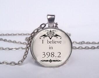 I believe in 398.2 Necklace, Fairy Tales Jewelry, Dewey Decimal Art Pendant, Fairy Tales Charm [A1110]