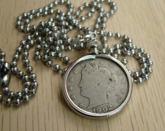 1902 Liberty Nickel Necklace with Stainless Steel Ball Chain