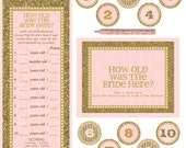 """Instant download -  Bridal Shower / Bachelorette Party Game - How old is the bride here - PINK GOLD -  10X8"""" Frame Opening"""