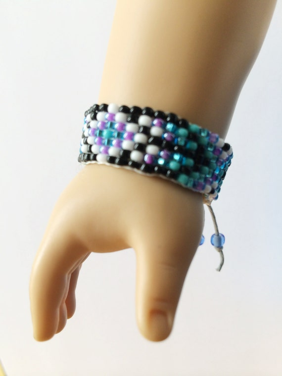 "American Girl 18"" Doll Black, Purple, and Blue Hand Beaded Friendship Bracelet"