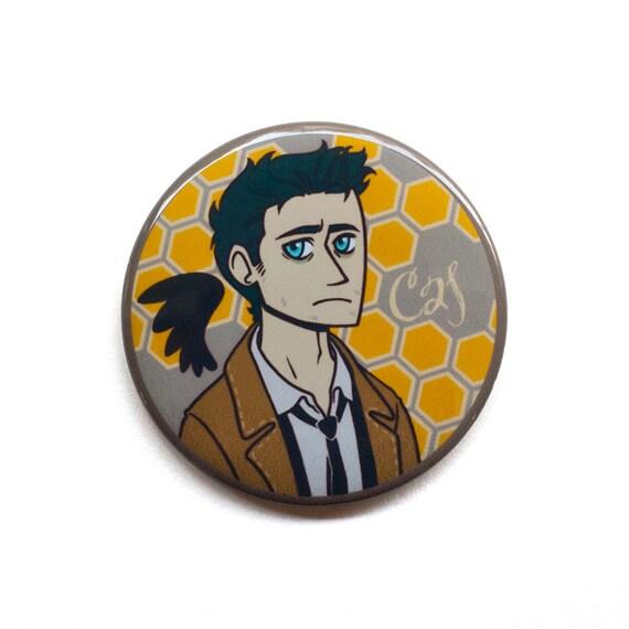 "Supernatural Button - Castiel Button - 2"" Pinback Button - Supernatural Magnet"