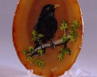 Blackbird Painting on Agate