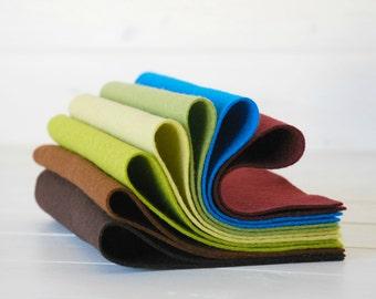 """100% Wool Felt Sheets - """"Vertigo Collection"""" - 7 Wool Felt Sheets of 8"""" x 12"""" -  Wool Felt Sheets Bundle - 100 wool felt"""