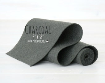 "Wool Felt Roll - 100% Wool Felt Roll 5"" x 36"" - Color Charcoal-8080 - European Wool Felt - Super Dark Gray wool felt - Gray Wool Felt Roll"