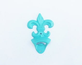 Fleur De Lis Wall Mounted Bottle Opener Aqua Rustic Cast Iron Fathers Day For Dad House Warming Gift