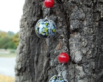 Red, White, Black and Grey Glass Earrings w/ Sterling Silver Earwire