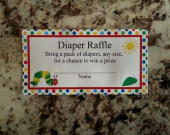 Printable Hungry Caterpillar Diaper Raffle Tickets and Sign mms003
