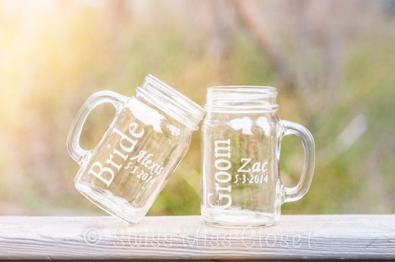 Custom Etched Bride and Groom Set 2 Handled Mason Jars 16oz Eco Friendly