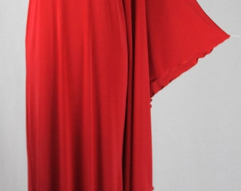 Baylis & Knight Red STUDIO 54 MAXI Long Batwing 70's Disco Glam One Shoulder Bat Wing Drape Dress Elegant (Smock)