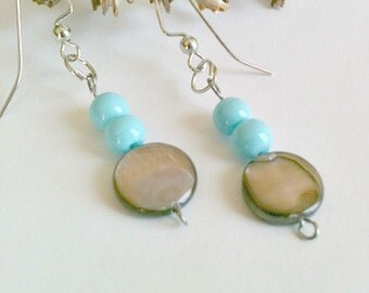 Blue Pearl Earrings Handmade, Blue Pearl Dangle Earrings Handmade