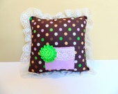 Personalized Tooth Fairy Pillow, Girls Brown Pillow, Polka Dot Pillow, Doll Pillow,