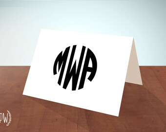 Monogram Stationery printable note cards, personalized stationery custom, round circle monogram, blank card - DIY digital PDF