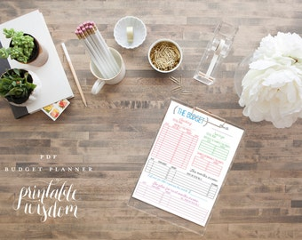 INSTANT DOWNLOAD printable budget planner organizer monthly diy pdf jpeg template family budget Printable Wisdom