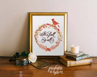 Fall printable wall art print decor autumn, it's fall y'all, decoration thanksgiving floral typography art print home decor INSTANT DOWNLOAD