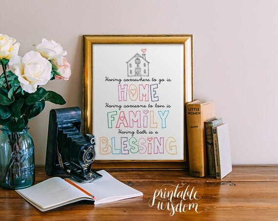 Quote Print, printable art, wall decor, home family blessing, home decor family art inspirational custom digital typography INSTANT DOWNLOAD