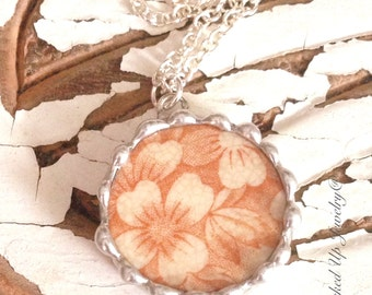 Broken China Jewelry. Broken China Necklace, Peach Brown Floral China Necklace