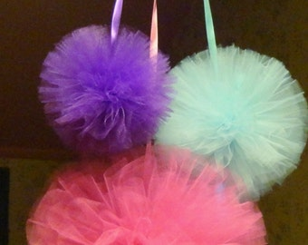 Tulle Pom Poms, Tulle Balls, Tulle Puffs,  Girls Nursery Mobile,  Baby Shower Gift, Shower Decoration, Party Decoration, Wedding Decor