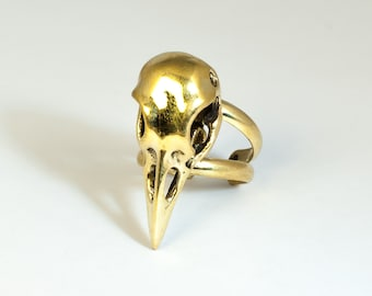 Brass Bird Skull Ring JB-R-004