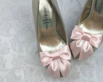 Pink Shoe Clips, Pink Satin Bow Shoe Clip, Pink Wedding Accessories Shoes Clip