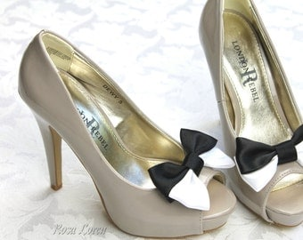 Black & White Shoe Clips, Black and White Bow Shoe Clip, Black and White Clip Shoes