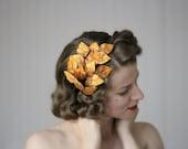 "Fall Headband, Leaf Hair Accessory, Orange Leaves Headpiece, Autumn Fascinator, 1950s Hair Piece, Vintage - ""The Golden Forest"""