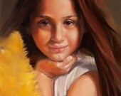 Portrait painting. Custom portrait from photo. Pastel portraits of a little girl. Art original only