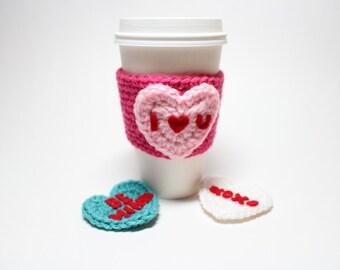 Conversation Heart Coffee Cozy, Valentine's Day Crochet Can Cozy, Coffee Sleeve, Drink Cup Holder, Travel Mug Cozy
