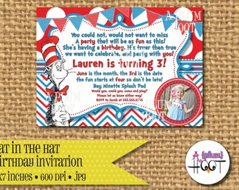 Cat in the Hat Dr. Seuss Party Invitation (Personalized, DIY, 5X7 Printable)