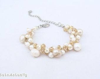 White freshwater pearl bracelet with crystal on gold silk thread, cream, ivory