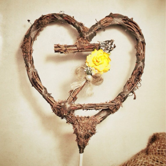Twig Heart Wedding Cake Topper