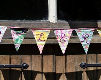 Custom Wedding Bunting Banner, Hand Sewn with Sequins