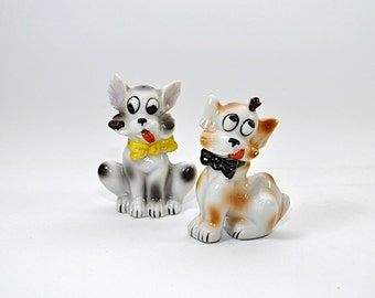 Cute Vintage Dog Salt & Pepper Shakers - Ceramic - White Dogs with Bows - Hand Painted