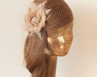 Champagne BIRDCAGE VEIL with Flower, Vintage Style Bridal FASCINATOR