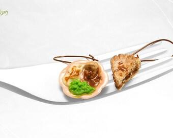 Meat Pie Earrings, Mashed Potatoes Earrings Mushy Peas, Miniature Food Jewelry, Polymer Clay Earrings, Kawaii Jewelry, Copper Earrings