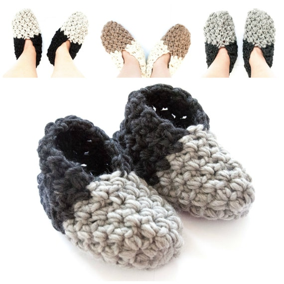 CROCHET PATTERN - DIY - slippers, shoes, super bulky yarn,slipper crochet pattern, women's slippers, men's slippers, unisex, quick gift idea