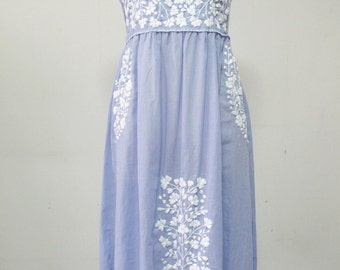 Mexican Embroidered Sundress Cotton Strapless, Beach Dress In Blue With Lining
