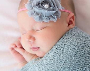FREE SHIPPING! Grey Headband, Grey Shabby Chic Headband, Newborn Headband, Baby Girl Headband, Baby Headbands