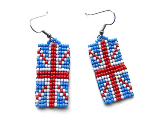Union Jack Seed Bead Earrings - beaded earrings, british flag, red, white and blue
