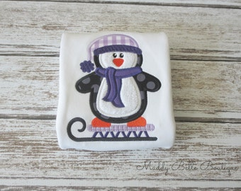 Cute Winter Penguin Appliqued Shirt - Embroidered Shirt, Personalization Available, Monogram, Winter, GIrls, Boys, Penguin Shirt