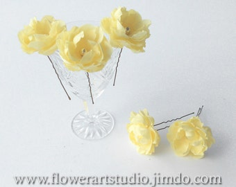 Yellow flower hair pins, Wedding flowers, Five small hair flowers, Bridal flower hair pins, Yellow hair accessories, Small fabric flowers.