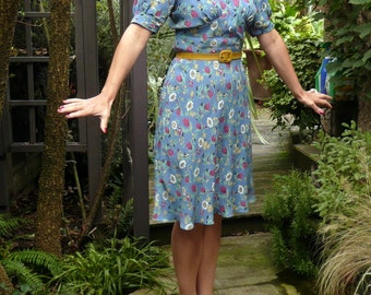 1930s Bias Cut Dress // Vintage Style Short Sleeve Dress // Vintage Floral Rayon Crepe Fabric //Custom Made to Order