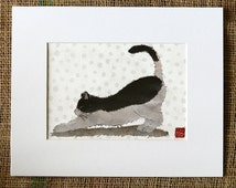 Cat Art, Mixed Media, Cat Print, Whimsical Animal Art