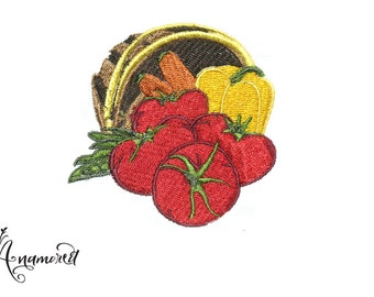 Fall Harvest: Basket of Vegetables (Tomatoes, Carrots, Bell Peppers) Embroidery Design/ Instant Download for Embroidery Machines