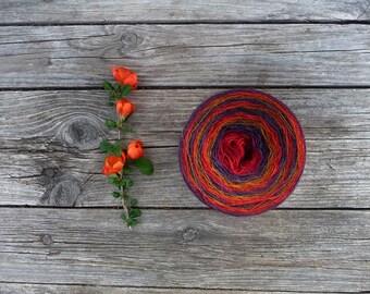 Laceweight 100% WOOL - red blue orange - one ball 3.5oz/ 100 gr