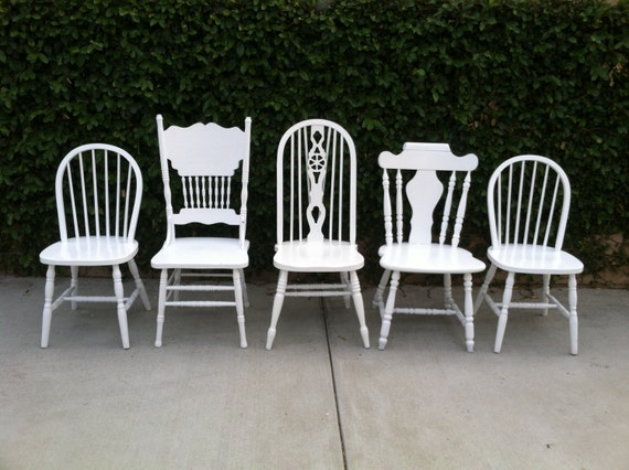 similar to Farmhouse Kitchen Chairs, Set of 5, Dining Chairs, White