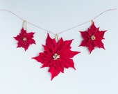 Red Poinsettia Ornament - Set of 3 clay ponsettias ornaments for Christmas Tree