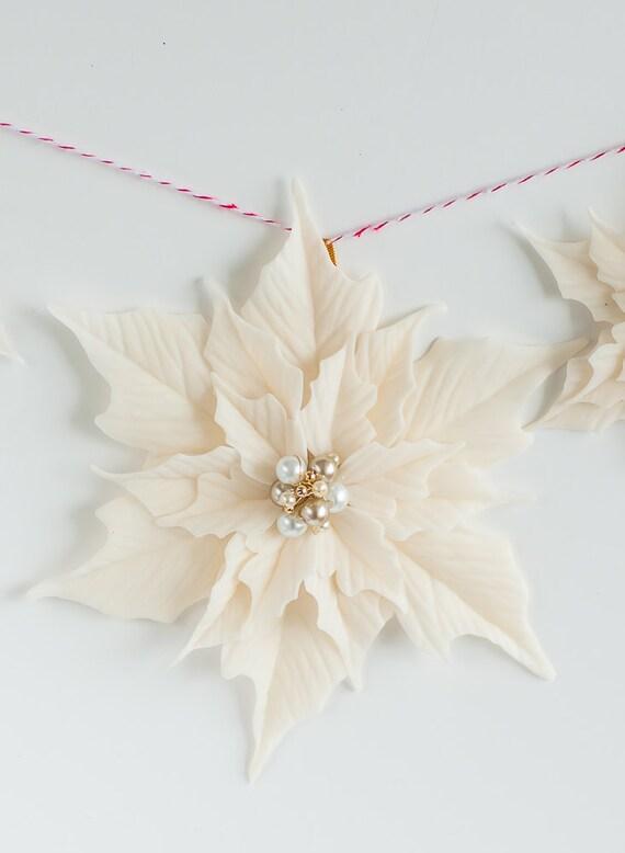 White Poinsettia Ornament - Ponsettia ornament for Christmas Tree